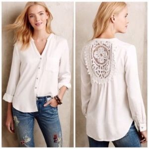 Anthropologie's white prairie embroidered back top